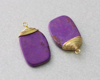 Purple Turquoise Gemstone Pendant . Polished Gold Plated . 10 Pieces / G3015G-PT010