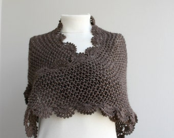 Handmade Chocolate Brown Triangle  Midi Shawl scarf collar Capelet Cowl Christmas gift