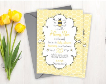 Baby Shower Invitations - Bee Baby Shower Invitations - Printed Invitation Cards - Personalized Bumble Bee Baby Shower Invitations