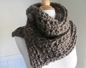 Chunky Knit Three-Button Neck Warmer. Taupe