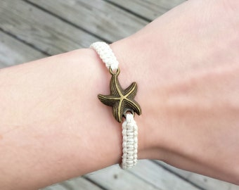 Starfish Bracelet - Beach Jewelry Women - Beachy Bracelets - Sea Star Jewelry - Ocean Jewelry - Adjustable Bracelet - Hemp Nautical Jewelry