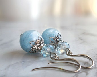 Blue aquamarine earrings, March birthstone, March birthday gift, for girl, gifts for women, gift for her, bridal, bridesmaid gift, gemstone