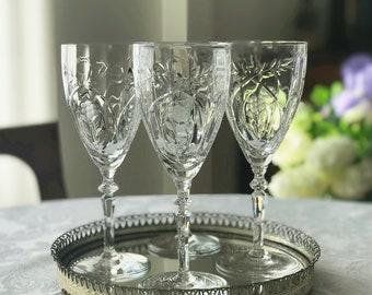 4 Vintage Crystal Wine Glasses / Water Glasses Goblets Rock Sharpe Floral Cut Glass Stemware