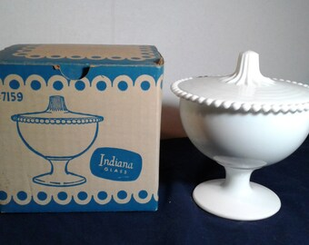Vintage Indiana Glass Milk Glass Candy Box with Cover, with Original Box