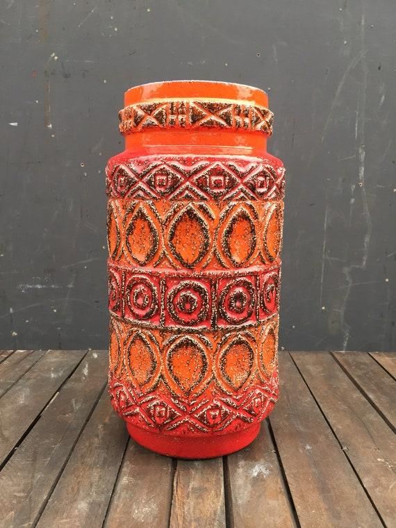 Vintage 1960's West German Pottery By Bay Keramik 92-40 FAT LAVA
