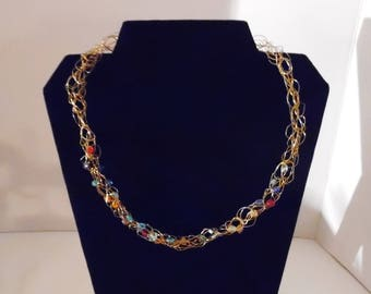 Handmade Gold Wire and Bead Necklace