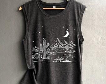 Desert Starry Night Shirt - Desert Shirt - Camping Shirt - Cactus Shirt Tank top Shirt Muscle Tank Top Womens