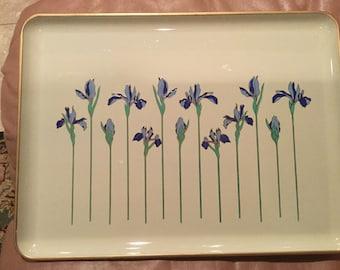 "Vintage Otagiri Lacquerware Blue ""Iris Rhapsody"" Small Serving Tray"