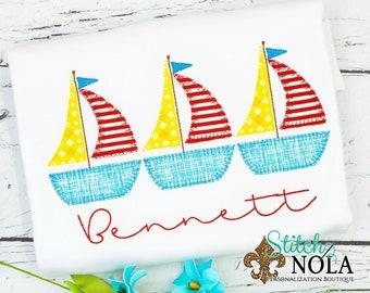 Sailboat Trio Applique, Sailboat Applique, Sailboat Shirt, Sailboat Tee, Spring Applique, Summer Applique