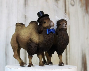 Camel Cake Topper, Bactrian-Wedding-Animal-Bride-Groom-Desert-Unique-Funny-Wildlife