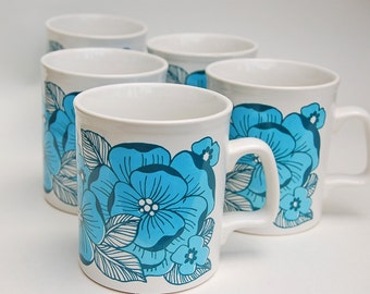 4 Vintage Ironstone Mugs Straffordshire Potteries Retro Mod Stylized Floral Motif Blue/White  70s Hippie Flower Power Boho Made in England
