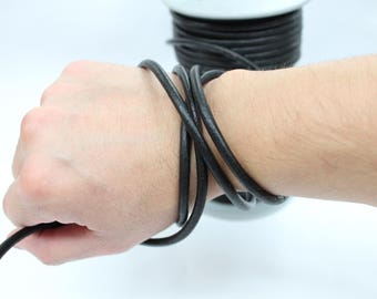 5mm 5-20ft Real Leather Natural Round Cord - Black (RCR02)