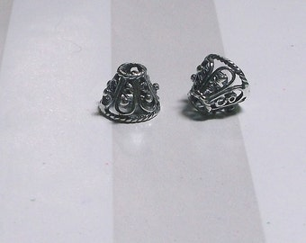 Two (2) .925 Bali Sterling Silver 9 x 9 x 7.5mm Ornate Cone Beads #2108
