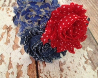 Red White and Blue Flower Headband - Child, Toddler, Girl, Little Girl - Patriotic, America, July 4th, Fourth of July - READY TO SHIP