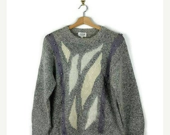 Winter Sale 40% Off Vintage Grey/White Marled Abstract Sweater/Jumper from 80's
