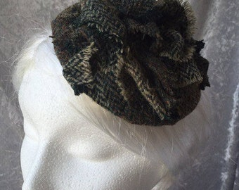 Tweed hat, Tweed fascinator, Tweed headpiece, Tweed comb