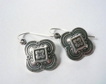 Celtic earrings Silver earrings Outlander earrings Downton Abbey earrings Antiqued silver earrings Art nouveau earrings Victorian earrings