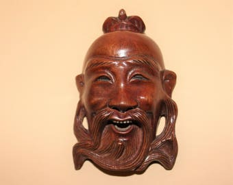 Vintage Chinese Hand carved Wall Mask/Laughing Chinese Man/Bone Teeth