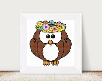 Hippy Owl Cross Stitch Pattern, PDF, DMC threads