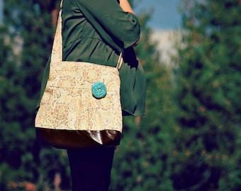 Handbag, Crossbody Purse, Messenger Bag, Medium Faux Leather Bag, Fall Purse, Paisley Handbag, Vegan Leather, Pleated Purse, Cream and Brown