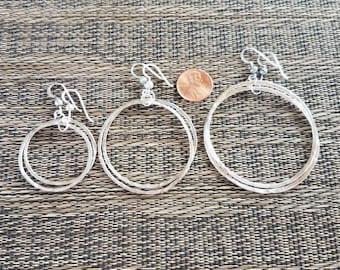 Sterling silver hoop earrings hammered finish