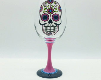 Pink Sugar Skull Hand Painted Wine Glass Day of the Dead Dia De Los Muertos Valentine