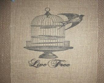 Bird Cage Burlap Picture