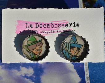 Earrings - recycled beer caps