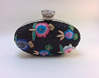 Black oval shape clutch with multicoloured floral embroidery,evening bag,bridal clutch,party clutch,prom clutch,embellished bag,unique bag