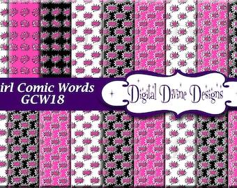 Meisje Comic Book woorden digitale Scrapbooking papier Set - Instant Download