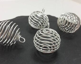 10 pcs, Grandes perles cage, Pendentifs breloques cages spirale, cage à perle en métal argenté, 25 x 20 mm