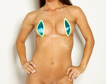 Bitsy's Bikinis Single Tie Teardrop Bikini - Solid Aqua Blue Foil with Neon Green Trim and Clear Strap String