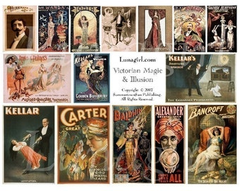 VICTORIAN MAGIC digital collage sheet, vintage images, vintage theater posters, vintage magicians, hypnosis hypnotists, altered art DOWNLOAD