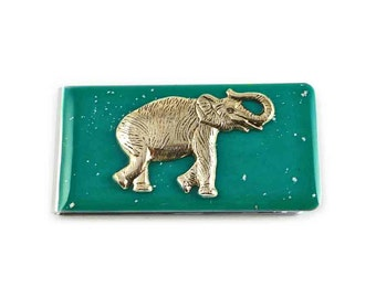 Elephant Money Clip Inlaid in Hand Painted Enamel in Teal Green with Silver Splash Glossy Finish Customizable Colors and Personalized Option