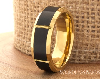 Yellow Gold Tungsten Ring Wedding Band Promise Ring Tungsten 7mm Mans Band Two Tone Yellow Gold And Black Ring Beveled Slanted Comfort Fit
