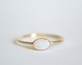 14k Solid Gold Oval Opal Ring, 14k Gold Opal Engagement Ring, Opal Ring 14k Gold, Natural Opal Gold Ring, Opal Ring Gold, Stacking Ring