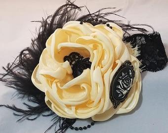 Cream and Black single bloom Rose