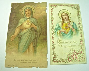2 Holy Cards, Immaculate Sacred HEART OF MARY, Crusade, France