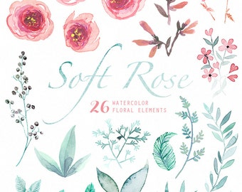Soft Rose 26 Watercolor Elements, hand painted clipart, floral wedding invite, greeting card, diy clip art, flowers, free commercial use