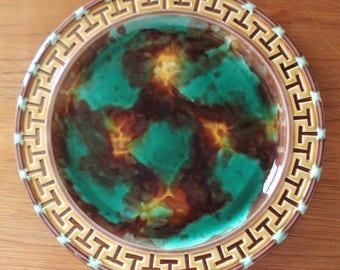 Antique Wedgwood Majolica  Plate Reticulated Pierced Greek Key Rim Slip Glaze Green And Brown C1870