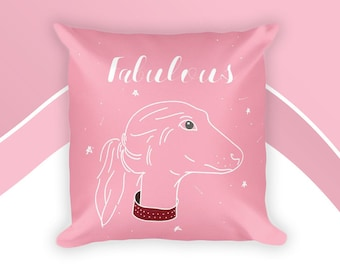 Square Pink Pillow With Dog Design, Fabulous