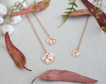 World map necklace etsy globe necklace rose gold globe necklace earth necklace boho jewelry silver necklace gumiabroncs Image collections