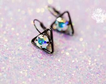 Crystal AB Swarovski Black Triangle Drop Earrings