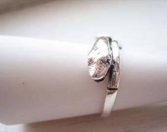 Vintage sterling silver snake ring, sterling snake ring, silver serpent, size 6.5 snake ring, size 6.5 silver ring,