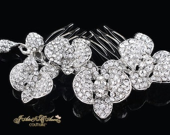 Crystal Bridal Comb, LOVE BLOSSOMING Wedding Comb, Luxury Wedding Headpiece, Couture Bridal Headpiece, Bridal Comb, Headpiece,Comb,Hair Comb