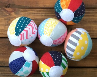 Beach Ball Rattle - Baby Toys, Stuffed Fabric Beach Ball Rattles, Baby Rattles, Beach Ball Accessories, Baby Toys, Beach Ball Rattle
