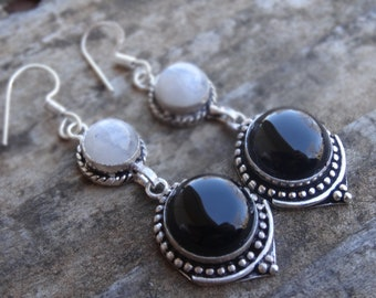Natural Sterling Silver Black Onyx Moonstone Earrings - Natural Black Onyx Stone - Handmade earrings Boho Chic Earrings - Moonstone Earrings