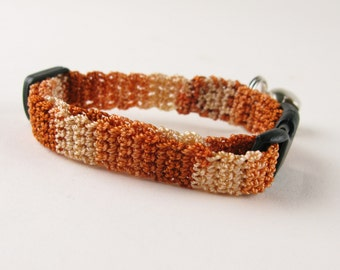 Cat Collar Crochet Caramel Brown Ombre Breakaway Collar Kitty Kitten