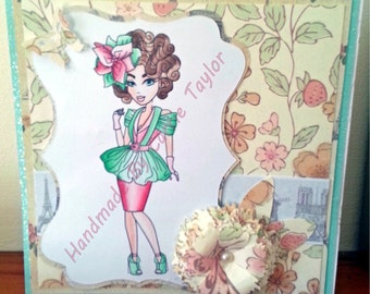 "Handmade 6""x 6"" Sassy Style Card With Box Any Occasion"