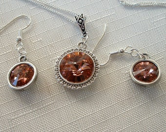 Blush Rose Swarovski Crystal Necklace and Earring Set